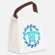 Blue Tribal Turtle Sun Canvas Lunch Bag