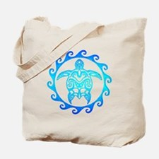 Blue Tribal Turtle Sun Tote Bag