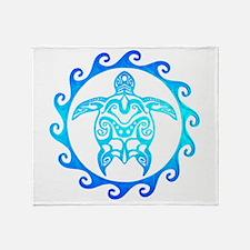 Blue Tribal Turtle Sun Throw Blanket