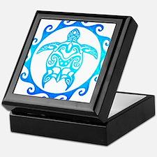 Blue Tribal Turtle Sun Keepsake Box