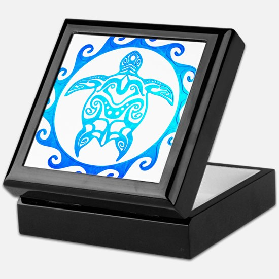 Blue Tribal Turtle Sun Keepsake Box