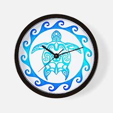 Blue Tribal Turtle Sun Wall Clock