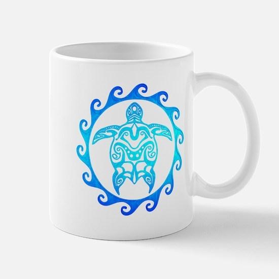 Blue Tribal Turtle Sun Mugs