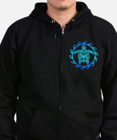 Blue Tribal Turtle Sun Zip Hoodie