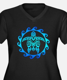 Blue Tribal Turtle Sun Plus Size T-Shirt