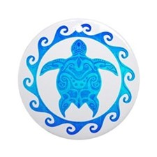 Ocean Blue Turtle Sun Ornament (Round)