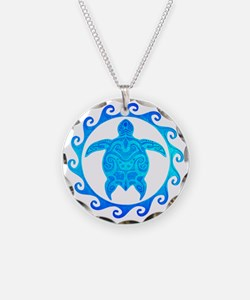 Ocean Blue Turtle Sun Necklace