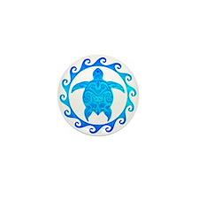 Ocean Blue Turtle Sun Mini Button