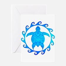 Ocean Blue Turtle Sun Greeting Cards