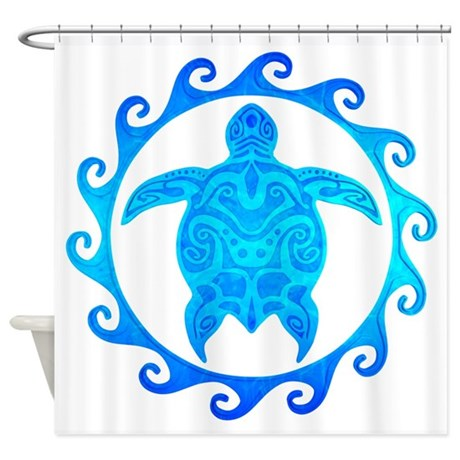 Ocean Blue Turtle Sun Shower Curtain by BailoutIsland # Sunshower Blue_021322