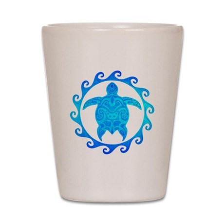 Ocean Blue Turtle Sun Shot Glass