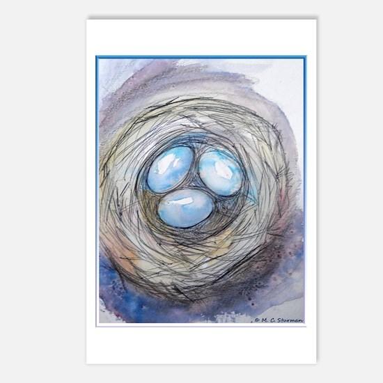 Robins nest, blue eggs, bird art, Postcards (Packa