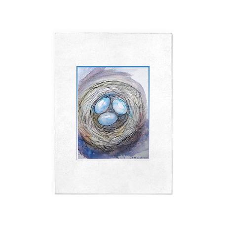 Robins nest, blue eggs, bird art, 5'x7'Area Rug
