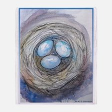 Robins nest, blue eggs, bird art, Throw Blanket