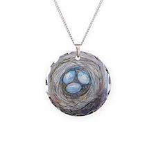 Robins nest, blue eggs, bird art, Necklace