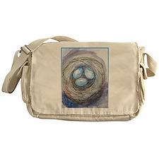 Robins nest, blue eggs, bird art, Messenger Bag