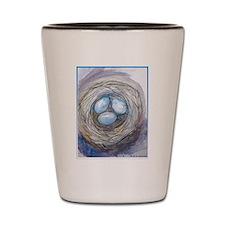 Robins nest, blue eggs, bird art, Shot Glass