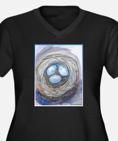Robins nest, blue eggs, bird art, Plus Size T-Shir