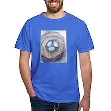 Robins nest, blue eggs, bird art, T-Shirt