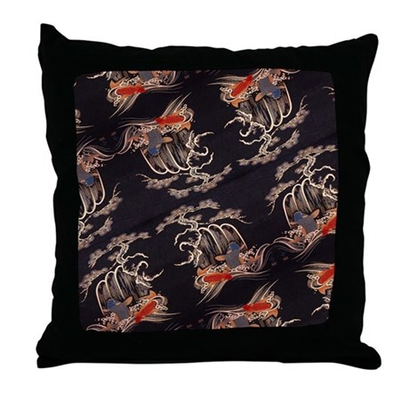 Koi fish japanese textile throw pillow by listing store for Koi fish pillow