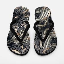 koi fish japanese textile Flip Flops