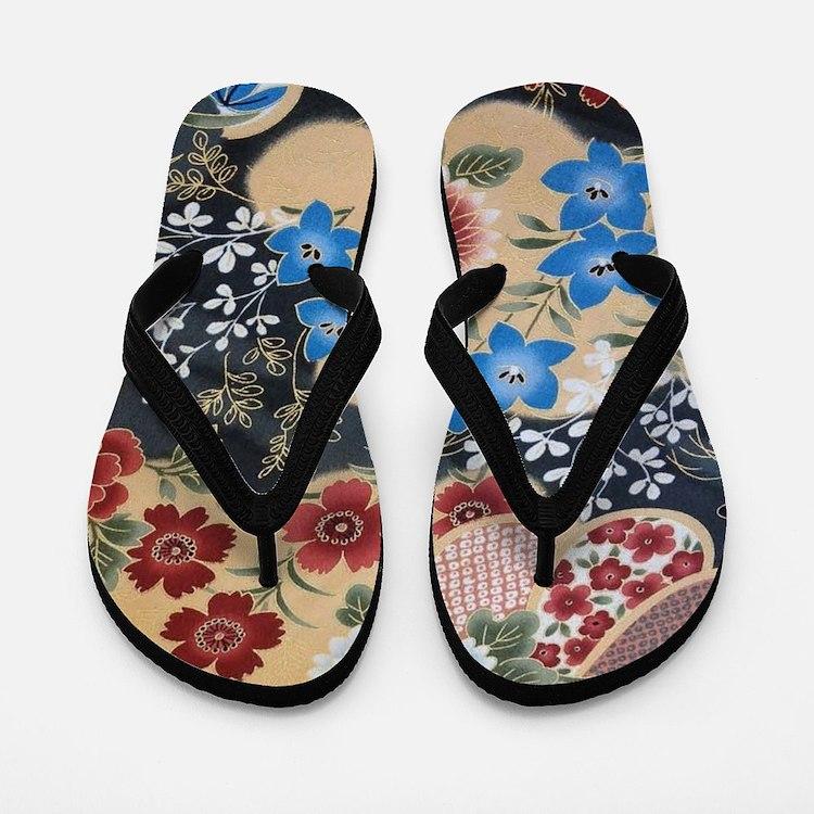floral japanese textile Flip Flops