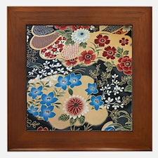 floral japanese textile Framed Tile