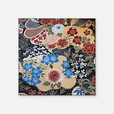 "floral japanese textile Square Sticker 3"" x 3"""