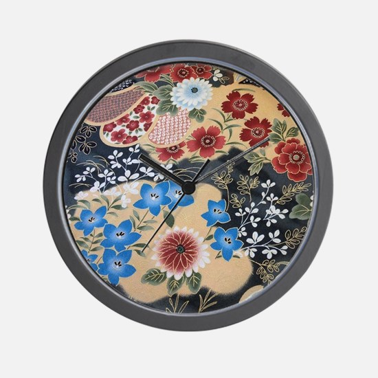 floral japanese textile Wall Clock