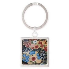 floral japanese textile Square Keychain