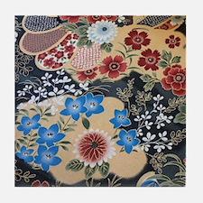 floral japanese textile Tile Coaster