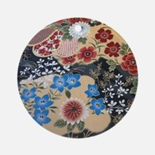 floral japanese textile Round Ornament