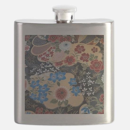 floral japanese textile Flask