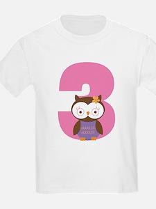 3rd Birthday Owl Girl T-Shirt