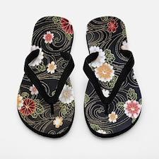 floral patten japanese textile Flip Flops