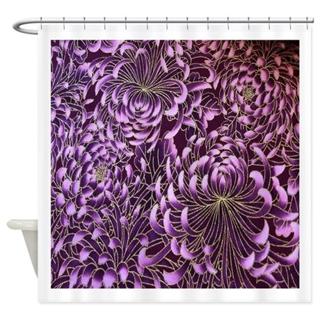 purple floral patten japanese texti shower curtain by listing store 30702168. Black Bedroom Furniture Sets. Home Design Ideas