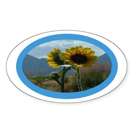 Oval Sunflower Sticker