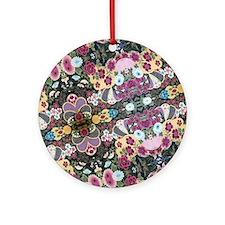 floral patten japanese textile Round Ornament