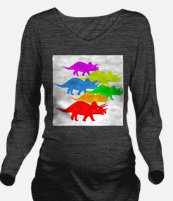 Triceratops Family Long Sleeve Maternity T-Shirt