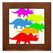 Triceratops Family Framed Tile
