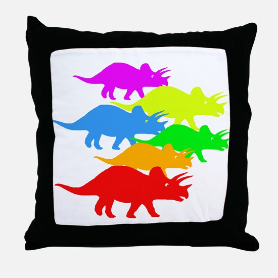 Triceratops Family Throw Pillow