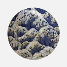 japanese ocean waves landscape Round Ornament