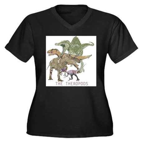 3-theropods.png Women's Plus Size V-Neck Dark T-Sh