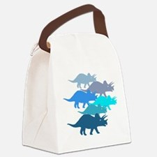 Blue Triceratops Family Canvas Lunch Bag