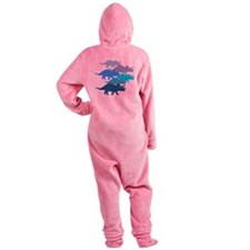 Blue Triceratops Family Footed Pajamas