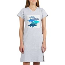 Blue Triceratops Family Women's Nightshirt