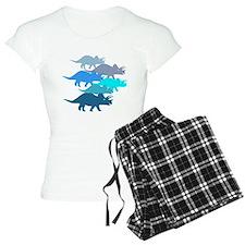 Blue Triceratops Family pajamas