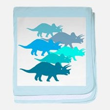 Blue Triceratops Family baby blanket