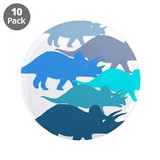 """Blue Triceratops Family 3.5"""" Button (10 pack)"""