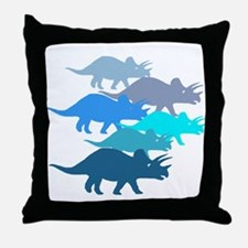 Blue Triceratops Family Throw Pillow